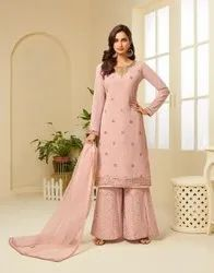 Georgette Embroidered Sharara Ladies Salwar Suit