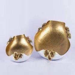 Golden & White Metal Urli Platter