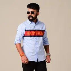 Rajanyas Cotton Red Striped Sky Blue Colour Rajputana Shirt, Size: Large