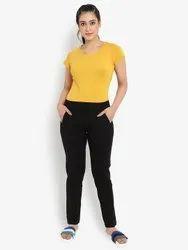 Regular Fit Black Women's Casual Lounge Comfort Pants