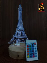 Shayona Eiffel Tower Color 3D  Illusion LED  Acrylic Table Top Night Lamp