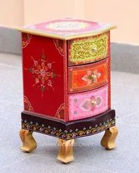 Wood MDF Multicolor Wooden Handicrafts Bedside Table With Storage 3 Drawers, For Home, Size: 12