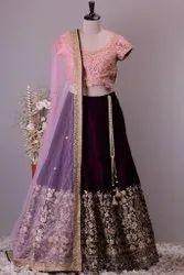 Present Velvet With Embroidery Work Lahenga Choli