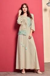 Casual Wear Straight Ladies Fancy Embroidered Rayon Long Kurti, Wash Care: Dry clean