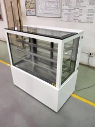 4 Shelves Glass WHITE CORIAN DISPLAY COUNTER, For Bakery, 10mm