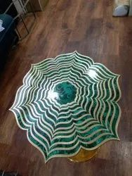 Green And White Designer Malachite Stones Brass Table, For Home,Office and Hotel