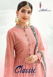 Eba Lifestyle Classic Gold Chinon With Embroidery Work With Diamond Salwar Suit Catalog