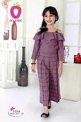 Girl Cute Purple Stripe Off Solder Stylish Top And Checks Culottes