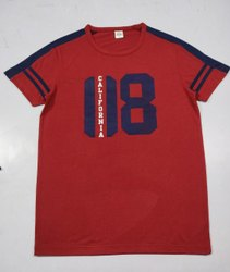 Printed Wine Red Men Half Sleeve Round Neck T Shirt, Size: M To XXL