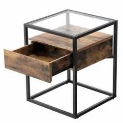 Iron Framed Side Table, Number Of Drawer: One