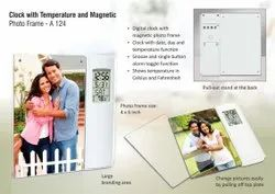 A124 Clock With Temperature And Magnetic Photo Frame (4 X 6 Size)