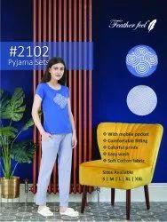 Feather Feel Printed Cotton Girls Women's Full Length Pyjama Tshirt Night Wear Set, Size: S - Xxl