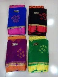 Pure Chiffon Bandhej Print Saree With Blouse