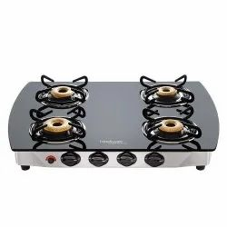 Black Stainless Steel Hindware Primo Plus 4B Auto Ignition Cooktop, Size: 63.5 X 500 X 75 Centimeters