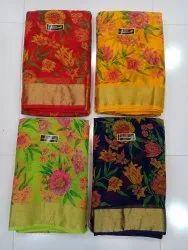 Pure Chiffon Baluchery Floral Print Saree With Blouse Tissue Border