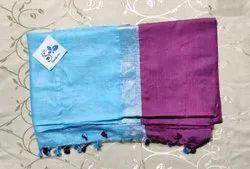 Party Wear Blue,Dark Pink Ladies Ethnic Cotton Saree, 0.8 M, 6.3 m (with blouse piece)