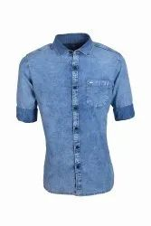 Denim Shirts Single Pocket Collar Neck
