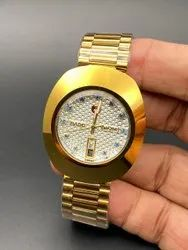 Round Golden Rado Gold Watch For Man, For Personal Use