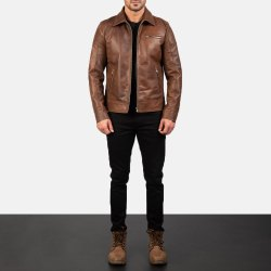 Handmade Men's Black Front Zipper Biker Jacket With High Stand Collar