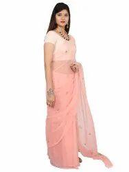 Saarvi Wedding Wear Chiffon Hand Work Saree, Size: Free, 6.3 m (with blouse piece)