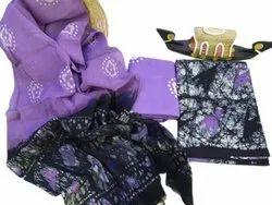 Purple Printed Cotton Unstitched Salwar Suit, Handwash