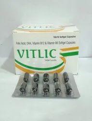 Vitlic Folic Acid, DHA, Vitamin B6 & B12 Softgel Capsules