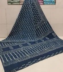 Bagru Dabu Hand Block Printed Cotton Saree With Blouse Piece