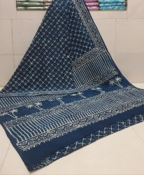 Exclusive Natural Bagru Dabu Hand Block Printed Cotton Saree With Blouse Piece