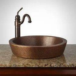K&T Single Copper Sinks, For Home & Hotels, Size: 14 Inch
