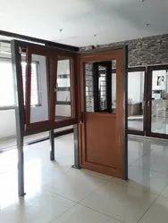 Toughened Glass L Handle UPVC Combination Door, 5 Mm