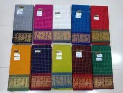 Handloom Sungudi Annam Checks Cotton Silver Zari Checks Saree