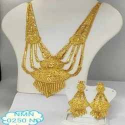 Gold Plated Rani Haar Necklace And Earing Jewellery Set For Women And Girl Bijoux