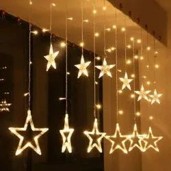 Plastic Cool White LED Star Curtain Set, For Decoration, Plug-in