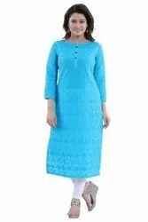 Sky Blue Women Cotton Chikan Kari Long Kurta, Size: S