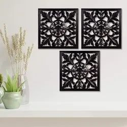 Timberly Wooden MDF Hanging Wall Panel Black (Pack of 3)