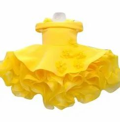 Satin,Net Baby Yellow Frock, Age Group: 2-6 Year