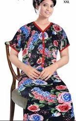 Black (Base) Ladies Printed Cotton Nightgown