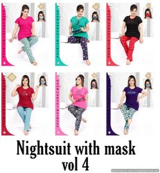 Female Nightsuit With Mask 4 Premium Hosiery Night Suits