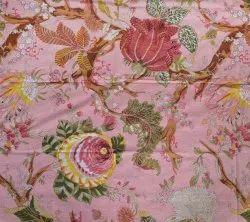 Indian Sanganeri Floral Print 100% Cotton Fabric For Flower Print Women's Dress Making