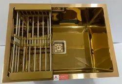 Rose Gold Single Bowl Stainless Steel Handmade Sink (24 X 18 X 10, Rose   Gold Mirror)