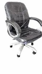 Rexine Medium Back Revolving Office Chair, Black