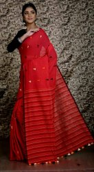 Pompom Design Cotton Saree