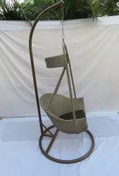 Hanging Swing Single Seater, Anda Full Swing, Shine Golden Line Cum White, Mehdi Green Cushion