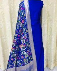 Banarasi Plain Silk Top And Bottom