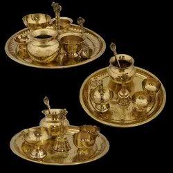 Golden Round Brass Pooja Thali, For Diwali Decor