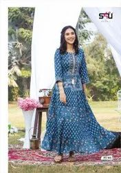 Party Wear Women S4u Flairy Tales Vol 5-long Gown Type Kurtis, Size: L and Xl