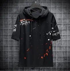Round Half Sleeve Designer Black T-shirt, Size: M To XXL