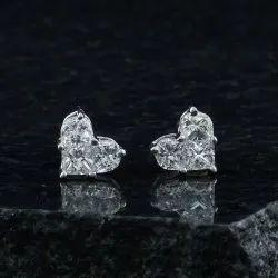 14k White Solid Gold Pie Cut Diamond Heart Studs, G Color & Vs Clarity White Diamond Studs