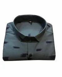 Printed Cotton Men Collar Neck Party Wear Shirt