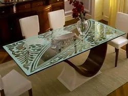 Glass, Wood Glass Dining Table